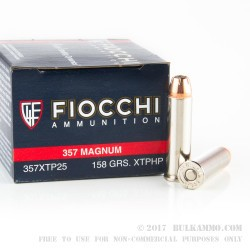 25 Rounds of .357 Mag Ammo by Fiocchi - 158gr JHP XTP