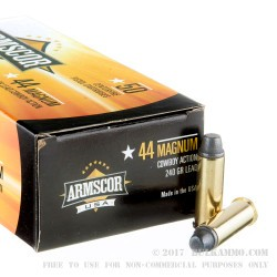 400 Rounds of .44 Mag Ammo by Armscor USA - 240gr Semi-Wadcutter Cowboy Action