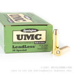 500  Rounds of .38 Spl Ammo by Remington UMC - Leadless - 125gr FNEB