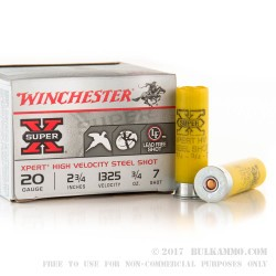 "25 Rounds of 20ga Ammo by Winchester Super-X - 2-3/4"" 3/4 ounce #7 Shot (Steel)"