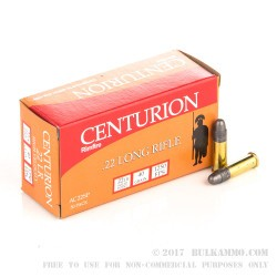 500  Rounds of .22 LR Ammo by Centurion - 40gr LRN