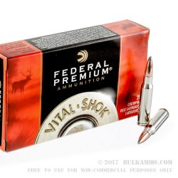 20 Rounds of .308 Win Ammo by Federal Vital-Shok - 180gr Nosler Partition