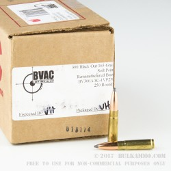 250 Rounds of .300 AAC Blackout Ammo by BVAC - 165gr SP