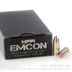 50 Rounds of 9mm Ammo by HPR EMCON - 147gr TMJ