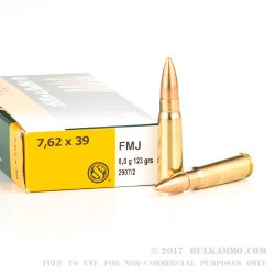 600 Rounds of 7.62x39mm Ammo by Sellier & Bellot - 123gr FMJ