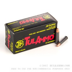 50 Rounds of .30 Carbine Ammo by Tula - 110gr FMJ