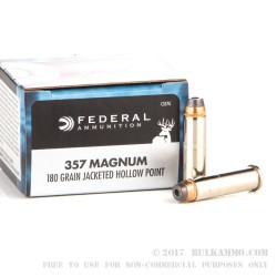 20 Rounds of .357 Mag Ammo by Federal - 180gr JHP