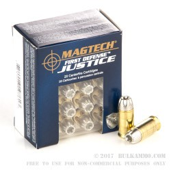 20 Rounds of .45 ACP +P Ammo by Magtech First Defense Justice - 165gr SCHP