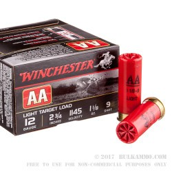 25 Rounds of 12ga Ammo by Winchester - 1 1/8 ounce #9 shot