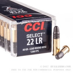 100 Rounds of .22 LR Ammo by CCI - 40gr LRN