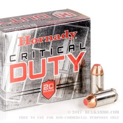 200 Rounds of .40 S&W Ammo by Hornady Critical Duty - 175gr JHP