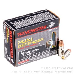 20 Rounds of 9mm Ammo by Winchester - 147gr JHP