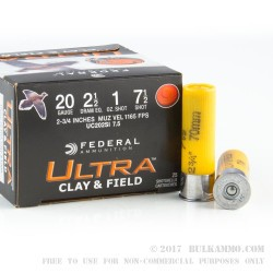 25 Rounds of 20ga Ammo by Federal -  #7 1/2 Shot