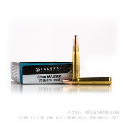 20 Rounds of 8 mm Mauser Ammo by Federal - 170gr SP