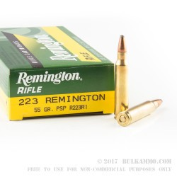 200 Rounds of .223 Ammo by Remington - 55gr PSP