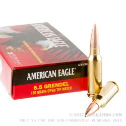 20 Rounds of 6.5mm Grendel  Ammo by Federal - 120gr OTM