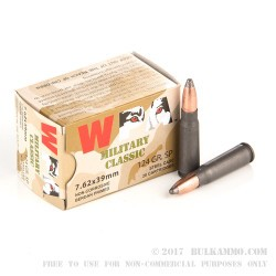 20 Rounds of 7.62x39mm Ammo by Wolf - 124gr SP