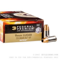 1000 Rounds of 9mm HST Ammo by Federal LE - 124gr JHP