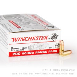 1000 Rounds of 9mm Ammo by Winchester - 115gr FMJ