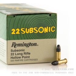 5000 Rounds of .22 LR Subsonic Ammo by Remington - 38gr LHP