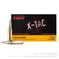 500  Rounds of 7.62x51mm Ammo by PMC X-TAC - 147gr FMJBT
