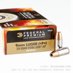 1000 Rounds of 9mm Ammo by Federal Law Enforcement - +P+ 124gr Hydra-Shok JHP