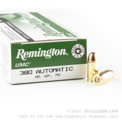 50 Rounds of .380 ACP Ammo by Remington UMC- 95gr MC