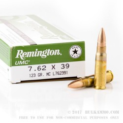 20 Rounds of 7.62x39mm Ammo by Remington - 123gr MC