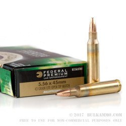 500  Rounds of 5.56x45 Ammo by Federal Premium Ballisticlean - 43 Grain OTM