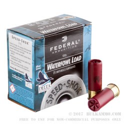 "25 Rounds of 12ga Ammo by Federal Speed-Shok Waterfowl - 2-3/4"" 1 1/8 ounce #4 shot"