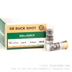 25 Rounds of 12ga 9P Ammo by Sellier & Bellot -  00 Buck