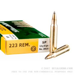 20 Rounds of .223 Ammo by Sellier & Bellot - 55gr SP