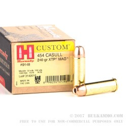 20 Rounds of .454 Casull Ammo by Hornady - 240gr JHP