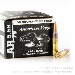 100 Rounds of 5.56x45 XM193 Ammo by Federal - 55gr FMJBT