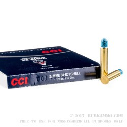 20 Rounds of .22 WMR Ammo by CCI - 52gr #12 Shotshell