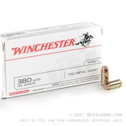Winchester 380 auto 95 gr FMJ Ammo For Sale!