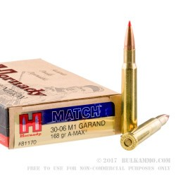 20 Rounds of 30-06 Springfield Ammo by Hornady - 168gr A-MAX Match for M1 Garand
