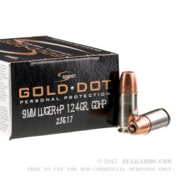 20 Rounds of 9mm Ammo by Speer Gold Dot - 124gr +P JHP