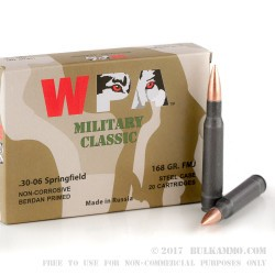 500 Rounds of 30-06 Springfield Ammo by Wolf Military Classic - 168gr FMJ