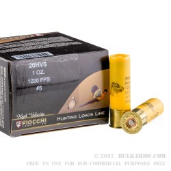 25 Rounds of 20ga Ammo by Fiocchi - 1 ounce #5 shot