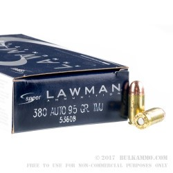 1000 Rounds of .380 ACP Ammo by Speer - 95gr TMJ