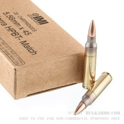 500 Rounds of 5.56x45mm Ammo by Israeli Military Industries - 69gr MatchKing HPBT