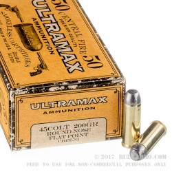 50 Rounds of .45 Long-Colt Ammo by Ultramax - 200gr RNFP