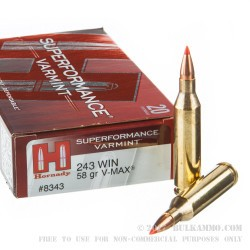 20 Rounds of .243 Win Ammo by Hornady Superformance Varmint - 58 Grain V-Max