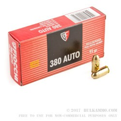 1000 Rounds of .380 ACP Ammo by Fiocchi - 95gr FMJ