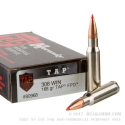 20 Rounds of .308 Win Ammo by Hornady - 168gr TAP FPD