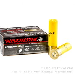 10 Rounds of 20ga Ammo by Winchester Double X Turkey - 1 1/4 ounce #4 shot