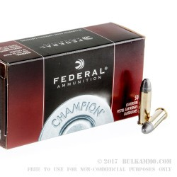 50 Rounds of .38 Spl Ammo by Federal Champion - 158gr LRN