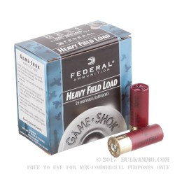 "25 Rounds of 12ga Ammo by Federal Game-Shok - 2-3/4"" 1 1/8 ounce #4 shot"