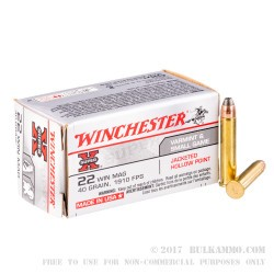 50 Rounds of .22 WMR Ammo by Winchester Super-X - 40gr JHP